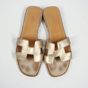 Hermes Oran Gold Metallic Slides Sandals Size 9.5